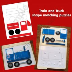 Truck and Train Shape Puzzles from LilOwlPrints on TeachersNotebook.com -  (5 pages)  - Truck and Train Shape Matching File Folder Game Puzzles