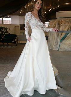 A-Line Princess V-neck Sweep Train Wedding Dresses  Lalamira Long Sleeve 8e0fb5dec1a2