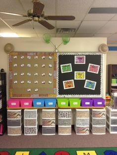 Hodge and Her Kindergarten Kids: A sneak peak into my classroom! Jungle Theme Classroom, Classroom Setup, Kindergarten Classroom, Future Classroom, School Classroom, Classroom Organization, Classroom Management, Organization Ideas, Elementary Science