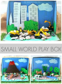 Cardboard Box Small World Play - Cardboard Box , Cardboard Box Small World Play One cardboard box = three small world play scenes! Great for travel and homemade gifts. Cardboard Box Crafts, Cardboard Toys, Cardboard Playhouse, Cardboard Furniture, Cardboard Box Ideas For Kids, Junk Modelling, Imagination Tree, Small World Play, Travel Toys