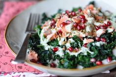 Blanched Kale Salad with Pomegranate and Green Apple Dressing, from The Whole Life Nutrition Kitchen