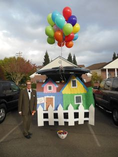 Kid Friendly Trunk or Treat Ideas for Cars, SUVs, Vans and Trucks The Best Halloween Trunk or Treat Ideas House Up Movie Theme trucks cars suvs and vans. Easy church Halloween ideas including games and popular Halloween themes Halloween Night, Holidays Halloween, Halloween Kids, Halloween Party, Halloween Car Decorations, Halloween Themes, Halloween Costumes, Family Costumes, Trunk Or Treat