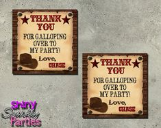 Printable WESTERN FAVOR TAGS Cowboy Themed by ShinySparklyParties