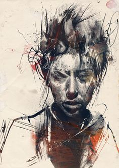 "Artist Russ Mills creates these astonishing images using a wide variety of traditional methods including painting and drawing with ink and pencil, but also utilizing scanned textures including splotches of paint (or ""painting disasters"" as he calls them) as well as photography. The resulting paintings are sparse in color but seem to contain explosive amounts of energy as displayed in the rough brushes of paint and the almost perfectly manic pencil strokes."