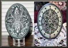 Pysanky designs on two emu eggs   by Patty Perkins