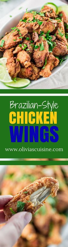 """Brazilian Style Chicken Wings - """"Frango a Passarinho"""" (Portuguese) - crunchy wings that are so full of garlic and lime flavor; the most perfect game day food! Brazilian Dishes, Brazilian Recipes, Chicken Wing Recipes, Portuguese Recipes, Game Day Food, Football Food, Appetizer Recipes, Appetizers, Dinner Recipes"""