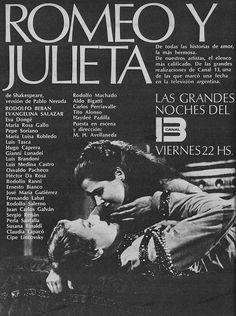 Publicidad de ROMEO Y JULIETA. Ciclo LAS GRANDES NOCHES DEL 13, Canal 13, Buenos Aires, 1973.