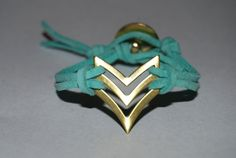 Native - Arrow - Chevron - Military - Sergeant - Brass - Gold - Button - Leather - Suede - Bracelet - Aqua