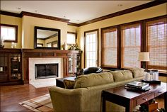Bungalow Family room with fireplace. Craftman/Prairie style interior design http://interiortransformation.com/