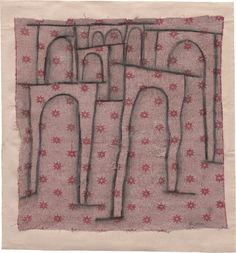 Paul Klee, Arches of the Bridge Stepping Out of Line, 1937. Charcoal on cloth, mounted on paper, cloth: 16 3/4 x 16 1/2 inches (42.6 x 42 cm); mount: 19 5/8 x 18 3/8 inches (50 x 46.8 cm)