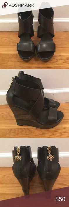 """DVF- Black Leather Opal Wedges sz 7 DVF- Black Leather Opal Wedges size 7. Worn only a few times- fabulous condition. Rubber soles (with DVF imprinted), leather upper, back zip with decorative pulls, wooden decorative wedge that is naturally distressed heels. Platform Height 1"""" and Heel Height 5"""". Diane von Furstenberg Shoes Wedges"""