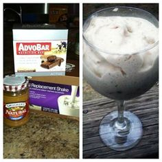 PB/chocolate blizzard  -1 vanilla meal replacement  -1/2 Advobar  -2 Tbs natural peanut butter  A Healthy but Sweet Treat :D Yum!!