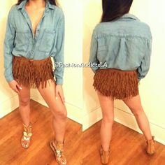 ALL SIZES BEAUTIFUL  FRINGE SHORTS! Super trendy shorts! Comes I'm Small/Medium  or Medium/Large! Nasty Gal Dresses Mini