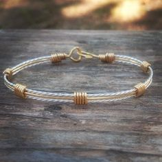 Wire Wrapped Silver and Gold Bracelet Hand Made Bracelet