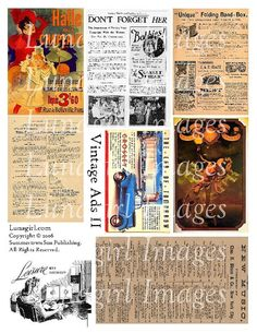 VINTAGE ADS digital collage sheet images retro by Lunagirl on Etsy (Craft Supplies & Tools, Scrapbooking Supplies, Scrapbooking Clip Art, art, collage, mixed media, altered, ephemera, digital, paper, card, tag, antique, vintage, backgrounds, retro)