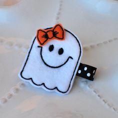 Halloween Hair Clip Cute Felt Ghost Bow by MyLittlePixies on Etsy, $4.00