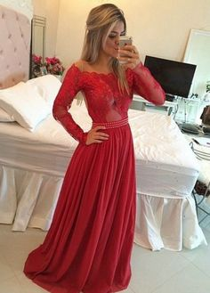 Timeless A-Line Off the Shoulder Long Red Chiffon Prom/Evening Dress with Long Sleeves,111043156