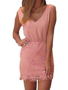 Pink V Neck Lace Spliced Sleeveless Dress
