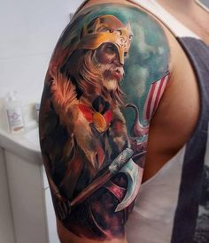 103 Best Badass Tattoo Designs in 2020 – Cool and Unique Designs Body Art Tattoos, Sleeve Tattoos, Tatoos, Viking Warrior Tattoos, Arte Viking, Tattoos For Guys Badass, Full Tattoo, Tattoo Magazines, Realism Tattoo