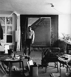 "Richard Diebenkorn in front of ""Ocean Park #59"" at his studio at Ashland and Main in Santa Monica in 1972. ( Gilbert Lloyd / Orange County Museum of Art ) LA Times"