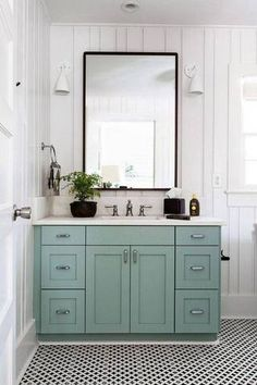 Small Bathroom Decor Ideas light blue vanity in white bathroom
