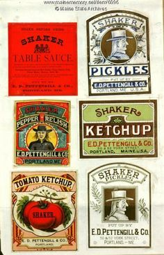 Six E. D. Pettengill Company Trademarks for Shaker Products. Item # 6096 on Maine Memory Network