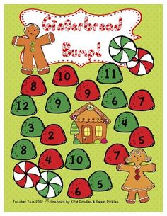 FREE Gingerbread Bump!  Addition Game from TeacherTam on TeachersNotebook.com -  (6 pages)  - This gingerbread-themed bump game provides a fun way for students in PreK through 2nd to practice addition skills. There are 2 different versions of the game: One for adding two numbers and another for adding three. There is also a black-and-white version