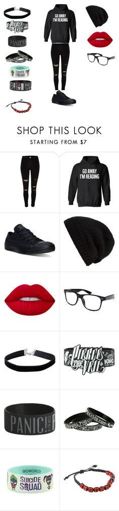 """Chapter 1 Of My Life's lie on quotev @Animaelover"" by oblivious-river ❤ liked on Polyvore featuring River Island, Converse, Rick Owens, Lime Crime, Retrò, Miss Selfridge, Hot Topic and DC Comics"