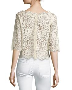 JOIE Elvia Scalloped Lace Crop Top. #joie #cloth #