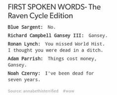 the raven cycle | trc | blue sargent | richard campbell gansey III | ronan lynch | adam parrish | noah czerny