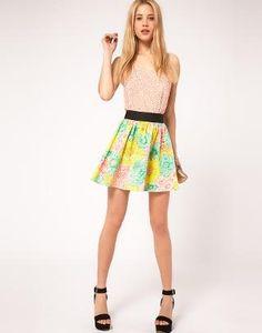 ASOS | ASOS Skater Skirt in Darling Bud Print at ASOS