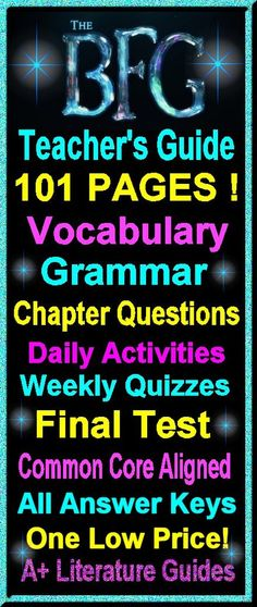 On Sale for $5.00--The BFG - 101 Page Complete Literature Guide! Everything a teacher needs to teach and test this novel!