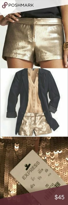 """{ EXPRESS } Sequin Bronze Golden Shorts - SZ 00 Our household includes a military veteran with cancer. Please respect our time! *NO TRADES WHATSOEVER* Reasonable offers considered. All items are available for purchase unless it says SOLD or NOT FOR SALE...  Dress these up or dress these down. EXPRESS bronze gold sequin shorts. Sequins over a ponte  stretch knit fabric. Zip fly. Meant to be worn lower on the hips. BRAND NEW, NEVER WORN... Waist is 13.5"""" flat/ 27"""" around...  I work in L.A as a…"""