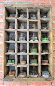 use old crate as washcloth holder in bathroom. roll them to give a brushed up look. Use it as storage for hair brushes and comb, etc.