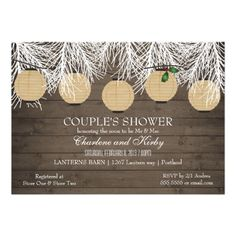 DON'T FORGET - CLICK ON THE LARGER IMAGE TO GET PRICING INFORMATION AND LEARN HOW YOU CAN CUSTOMIZE THIS FOR YOUR EVENT!  Rustic Winter Couples Shower Paper Lanterns Personalized Invitation