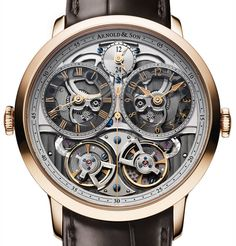 The new Arnold & Son DBG Skeleton watch with images, price, background, specs, & our expert analysis. Amazing Watches, Cool Watches, Men's Watches, Patek Philippe, Devon, Cartier, Omega, Arnold Son, Skeleton Watches