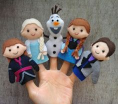 Frozen finger puppets Frozen finger puppets made from felt. - Frozen finger puppets Frozen finger puppets made from felt. Each item is hand stitched - Felt Puppets, Felt Finger Puppets, Hand Puppets, Felt Crafts, Diy And Crafts, Crafts For Kids, Puppet Training, Puppet Patterns, Puppet Making