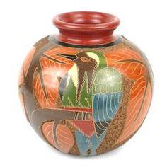 5 inch Tall Vase - Bird Relief Handmade and Fair Trade