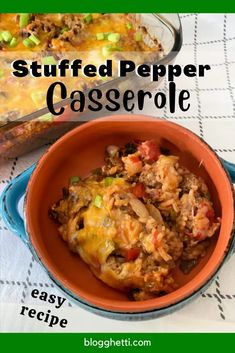 Easy Stuffed Pepper Casserole is a quick twist on the stuffed pepper using the classic and pantry staples like rice, ground beef, bell peppers, tomato sauce, and cheese. Making this in a deep oven-safe skillet, this can be a one pan meal. It's a deliciously simple recipe to make for dinner.