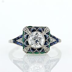 """""""Art Deco Style Diamond Emerald and Sapphire Ring"""" doesn't necessarily have to be an engagement ring. """"Art Deco Style Diamond Emerald and Sapphire Ring"""" doesn't necessarily have to be an engagement ring. Art Deco Schmuck, Bijoux Art Deco, Art Deco Jewelry, Bling Jewelry, Jewelry Gifts, Jewlery, Holiday Jewelry, Diy Jewelry, Ring Set"""