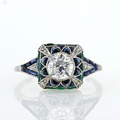 Art Deco Style Diamond, Emerald and Sapphire Ring