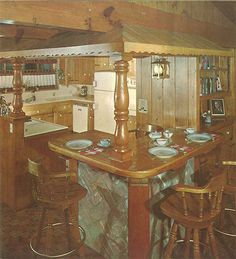 cabin decor 101 design ideas to decorate knotty pine - 24 page catalog from 1960 - Retro Renovation# Knotty Pine Rooms, Knotty Pine Kitchen, 70s Decor, Vintage Home Decor, Vintage Wood, 1950s Living Room, Interior S, Interior Design, Retro Renovation