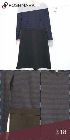 Loft LongSleeve Aline Dress ✨Top Navy & Black Striped ✨Skirt Solid Black  ✨Zipper in Back  ✨84% Polyester 16% Rayon ✨NWT ✨Machine Wash Cold LOFT Dresses Midi