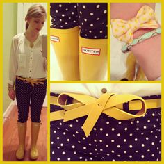 Sunny yellow on a rainy day! Perfection. Bow ties and rain boots.