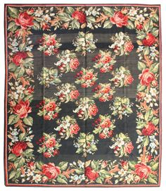 An early century Russian Bessarabian carpet, the abrashed charcoal gray field with an allover pattern of enlarged pink, red and pale light blue bouquets, within a charcoal enlarged blossom… Blue Bouquet, Russian Folk, Modern Rugs, Rugs On Carpet, Cool Furniture, Needlework, Quilts, Embroidery, Antiques