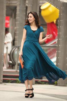 c14e8ad6ad7ef Peacock Blue Chiffon Maxi Dress Oversize Women by dresstore2000 Chiffon  Maxi Dress