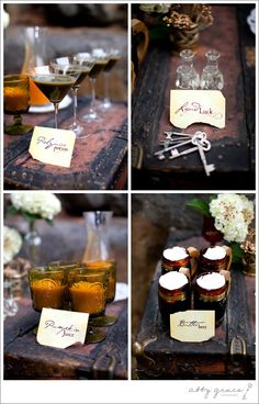 Harry Potter Wedding Drinks Felix, Felics, Butter Beer, Pumpkin Juice, and Poly juice Potion......... Awesome
