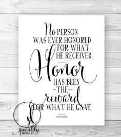 Military Quote, Honor quote, Wall Art, Home Decor, Typography Quote, Calvin Coolidge - Wall Art Print