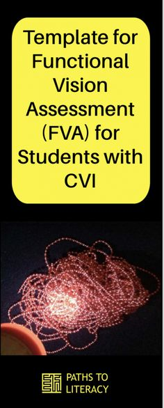 Template for Functional Vision Assessment (FVA) for students with CVI Visually Impaired Activities, Visual Impairment, Assessment, Paths, Literacy, No Response, Preschool, Students, Templates