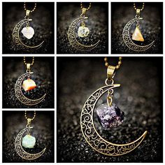 Wiccan Pagan Crescent Moon Bronze Pendant Native Necklace Spiritual Tribal Stone